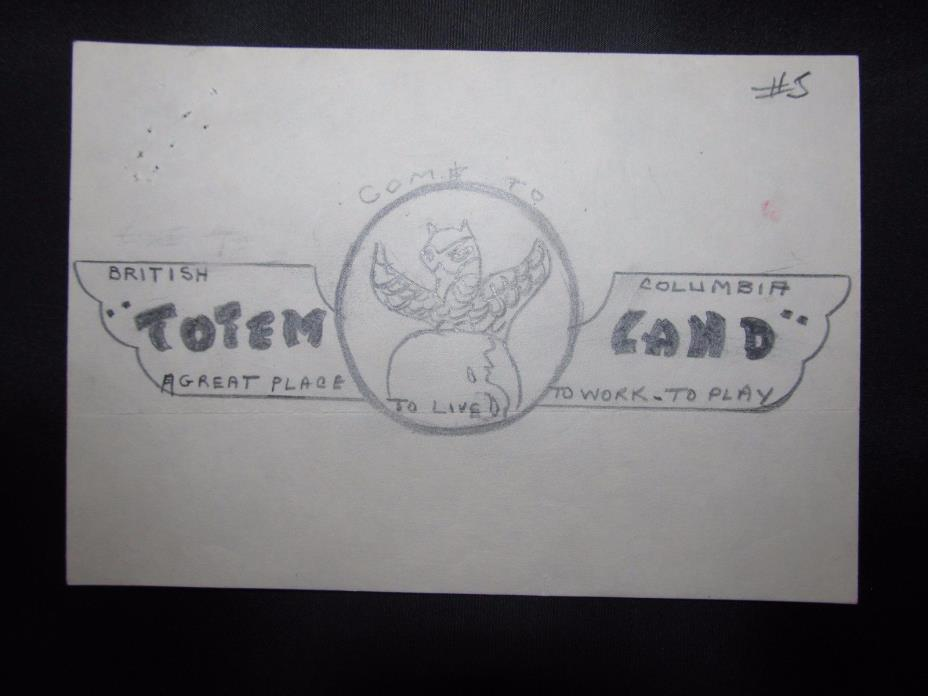 British Columbia's Totem-Land Original Art Sketch (Harry Duker Collection)