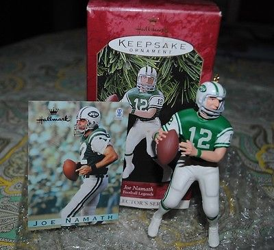 Joe Namath Hallmark Christmas Ornament NY Jets HOF NFL Quarterback w Card Box EX