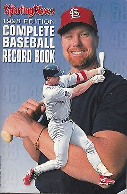 1998 Sporting News Complete Baseball Record Book Cardinals Mark McGwire on Cover
