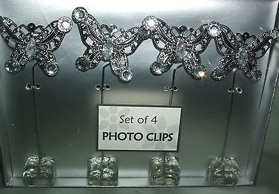BUTTERFLY PHOTO DISPLAY CLIPS:  SET OF 4 BRAND NEW SILVER & CRYSTAL ACCENTS