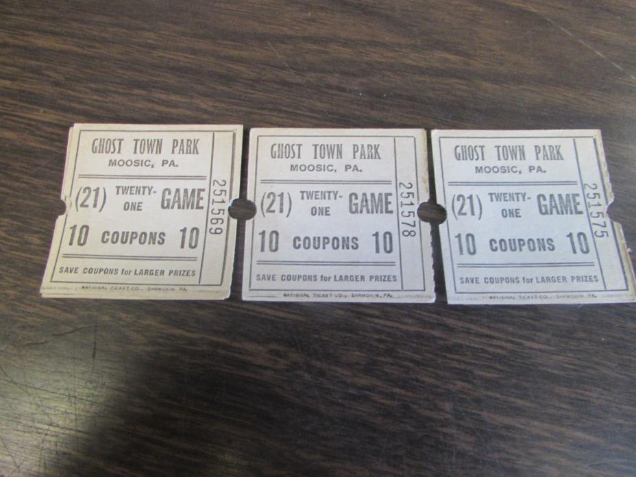GHOST TOWN PARK - MOOSIC PA - TWENTY ONE GAME - 10 COUPON (LOT OF 3) TICKETS