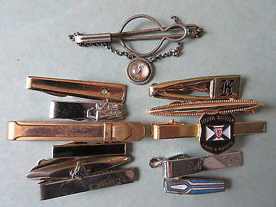 12 Old Vintage Men's Tie Clasps Pins Tractor Golf Masonic Etc