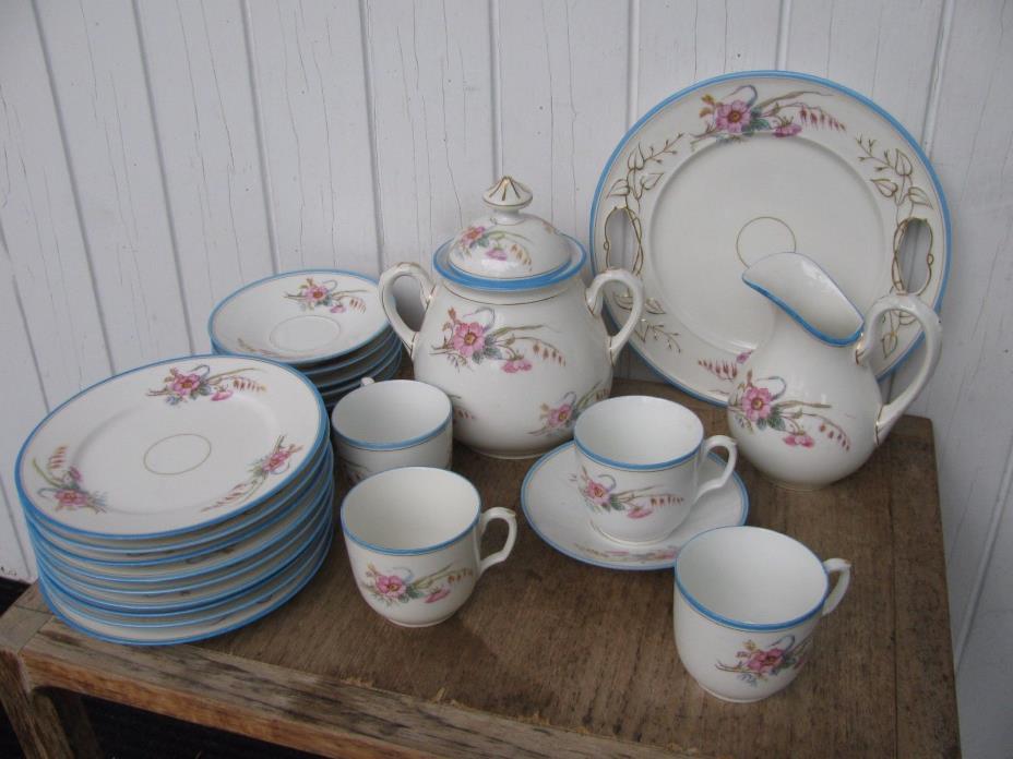 Bright Blue Trim Pink Blossom Antique Porcelain LOT Incised BD Limoges mark