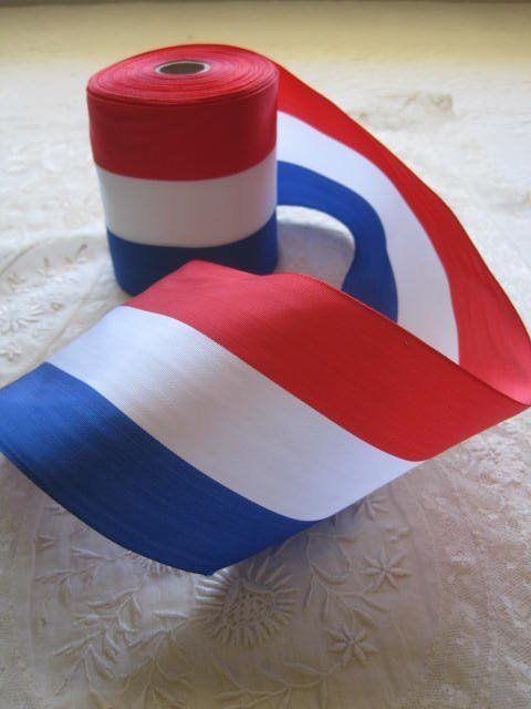 VINTAGE FABULOUS FRENCH FLAG MILLINERY, SASH RIBBON      1 YARD