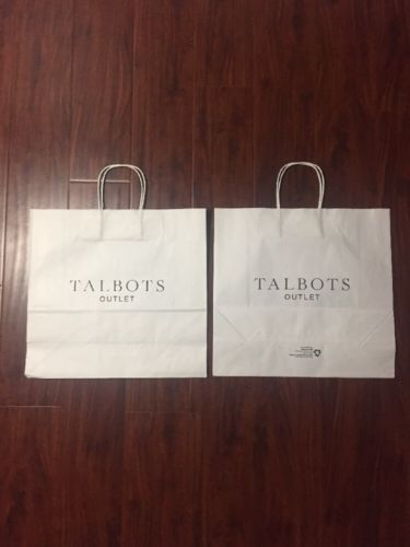 Talbots White Paper Retail Shopping Bag (Lot Of 2) 16x14x6