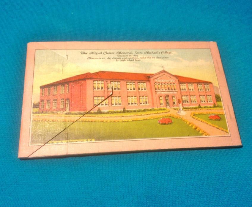 1930s-40s Santa Fe New Mexico Postcard Linen Folder VTG Oldest Church in U.S.A.