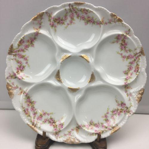 Theodore Haviland Schleiger 145 Limoges Oyster Plate Gold Pink Roses France