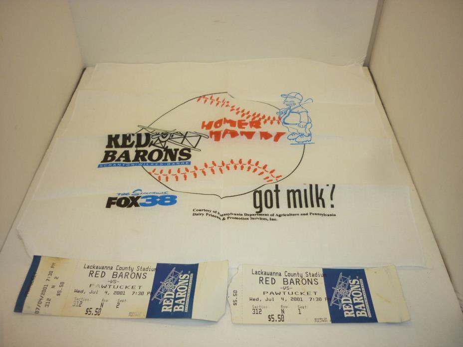 2001 Scranton Wilkes Barre Red Barons AAA Homer Hanky & Ticket Stubs Pawtucket