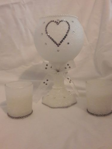 3 piece heart centerpiece wedding candle set