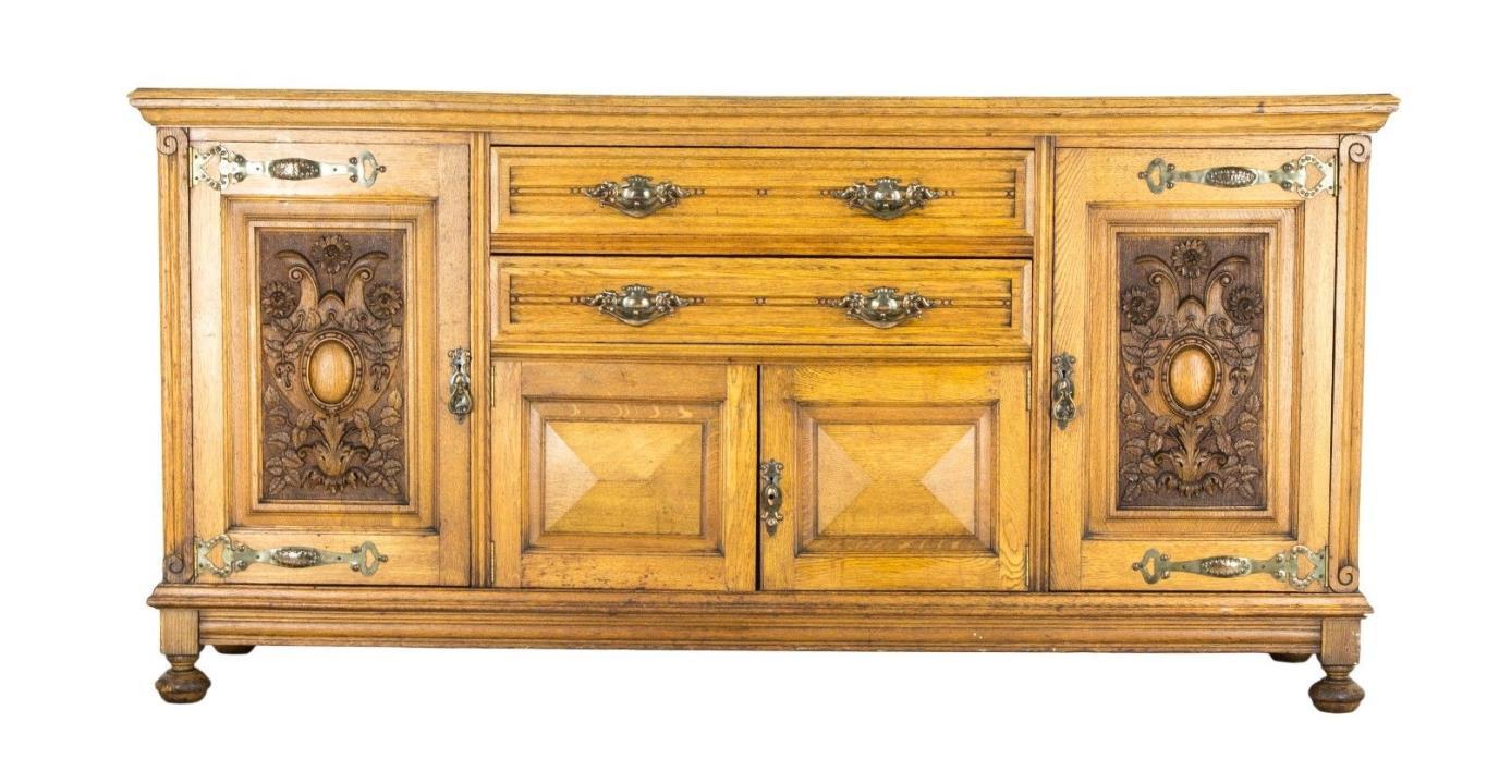 B582 Beautiful Antique Scottish Carved Oak Art Nouveau Sideboard