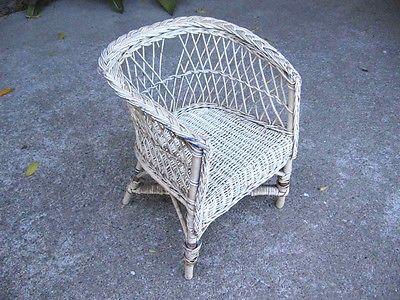 Wicker Chair Vintage Child's Children's  Antique Chair Wood Child Decorative