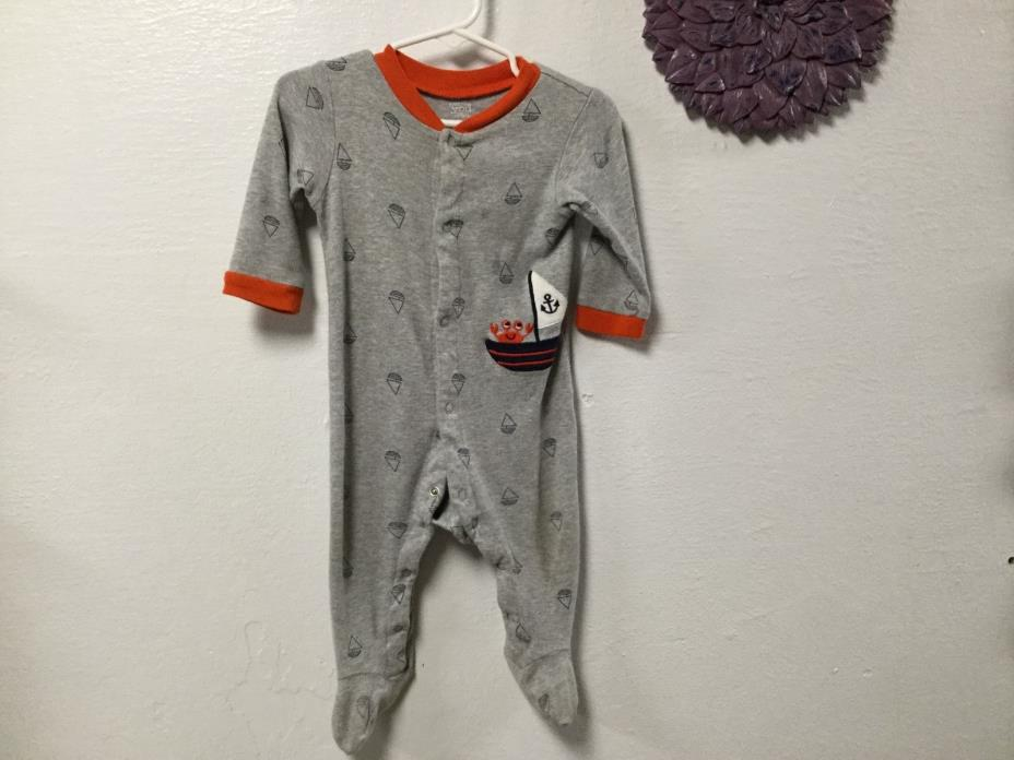 Baby boy footed pajamas CARTER'S size 9 months gray orange trim sailboats 17