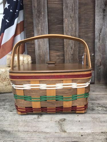 Longaberger Multicolor Cake Basket Set W Lid Rise Protector Limited Edition