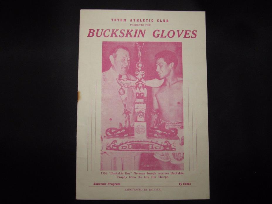 Vintage Totem Athletic Club Boxing Program Jim Thorpe ( Harry Duker Collection)