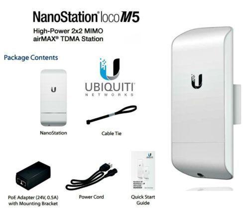 Ubiquiti LocoM5 NanoStation Loco M5 5GHz Indoor Outdoor CPE 150+Mbps 10+km 13dBi