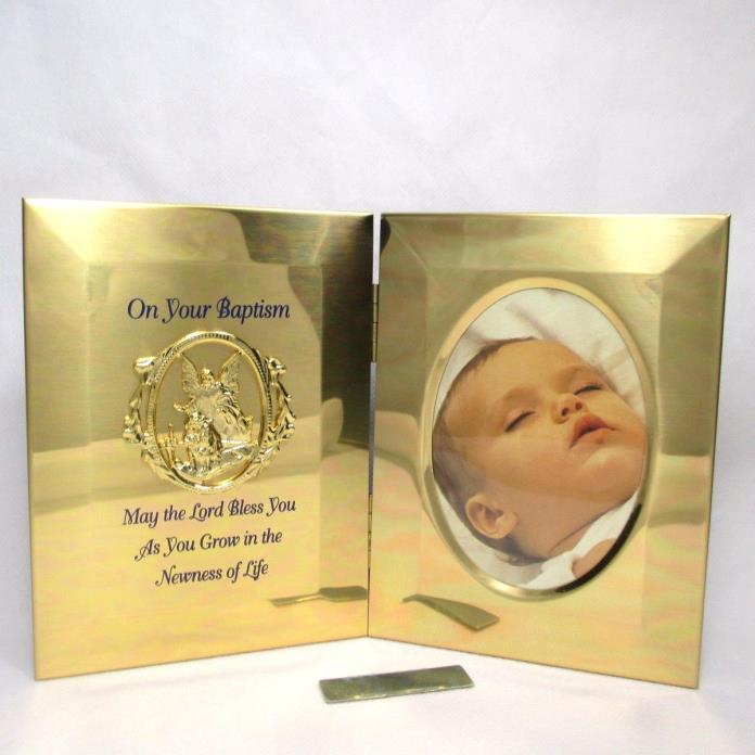Gold Anodized Baptism Gift Folding Photo Frame