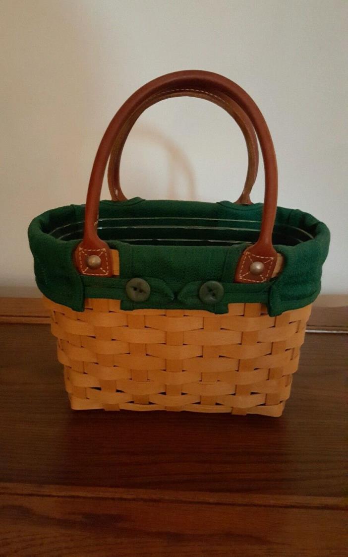 *Longaberger 2003 Small Boardwalk Purse Tote Basket W Green Liner & Protector*