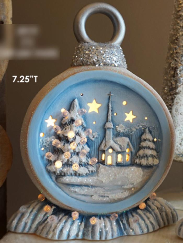 Ceramic Bisque Ready to Paint Extra Small Christmas Ornament with Church scene