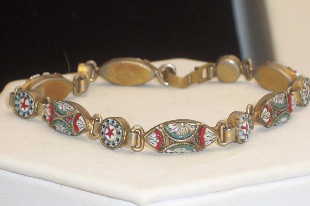 Vintage Antique Italian Micro Mosaic Link Bracelet Stars