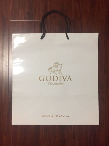 Godiva Chocolatier White Paper Retail Shopping Gift Bag 14.5x14.5x9.5