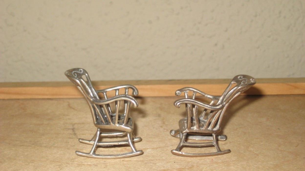 Solid.800 Sterling Silver 2 Rocking Chair Large Miniatures /Not Scrap Doll House