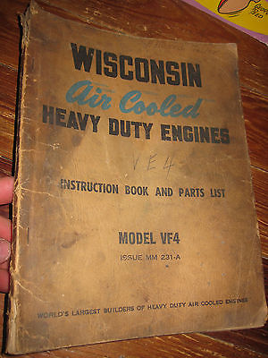 Vintage WISCONSIN Air Cooled Engine VF4 is.231-A Instruction Book and Parts List