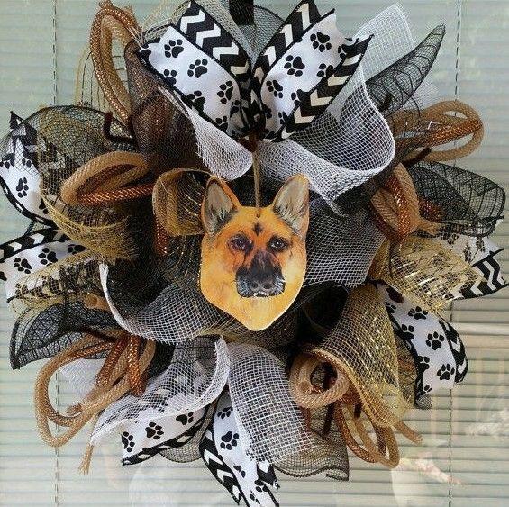 sale DOG PUPPY GERMAN SHEPHERD PET DECO MESH WREATH RIBBON MESH SMALL 16