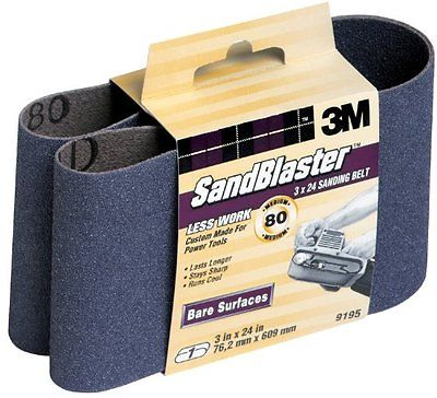3M SandBlaster 9195NA 3-Inch by 24-Inch 80-Grit Bare Surfaces Power Sanding Belt