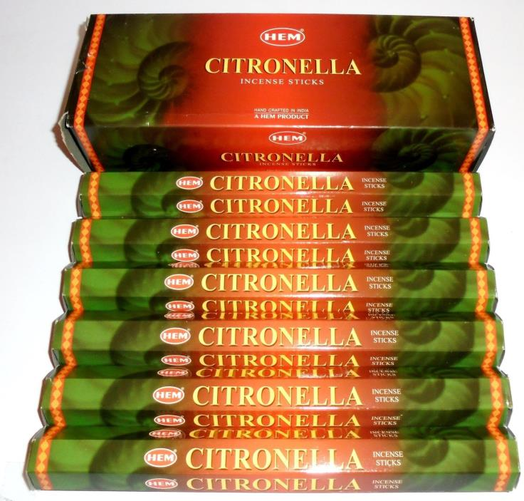 CITronella  INCENSE e 120 9.25 inch STICKS HAND ROLLED INCENSE HEM HI-20