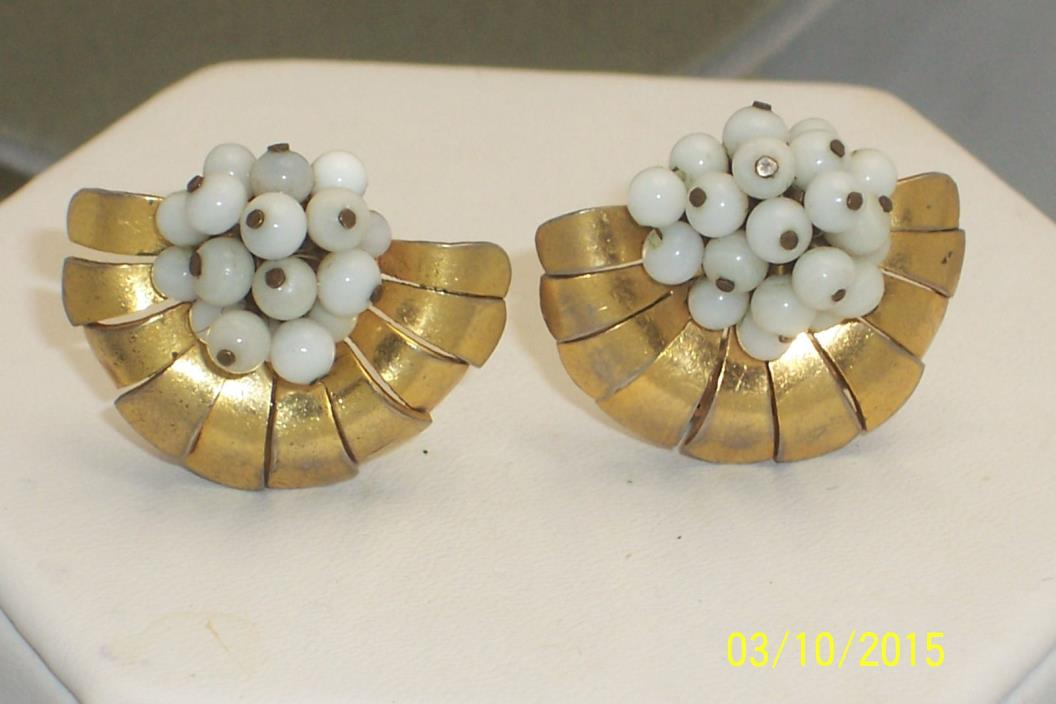 Vintage Pair Unusual Gold Tone Art Deco Milk Glass Bead Small Clips