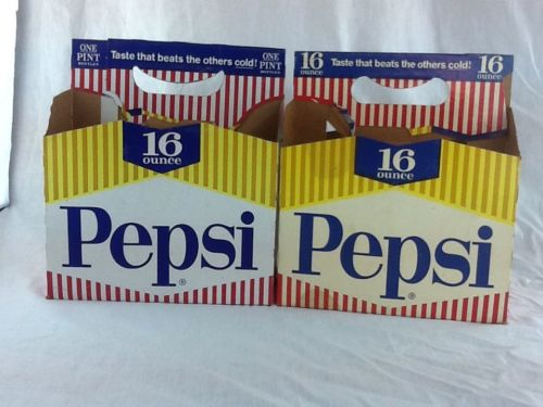 2 Vintage Pepsi Cardboard Carriers 6 1 pint 16oz Soda Bottles