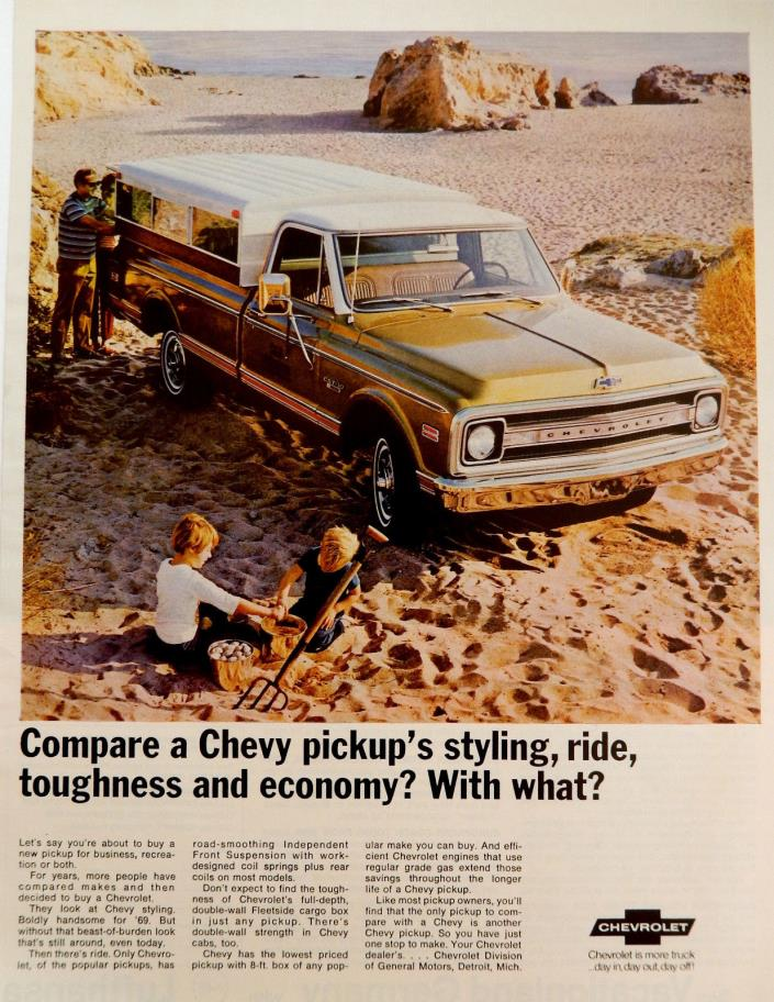 Vtg 1969 Chevy CST 10 pickup truck kids on the beach advertisement print ad art