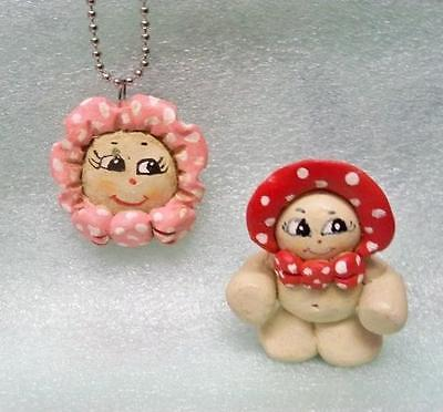 Clay Art Kewpies ~ Artesian Made Pendant And Figure 1983 Kewpeisata Souvenirs