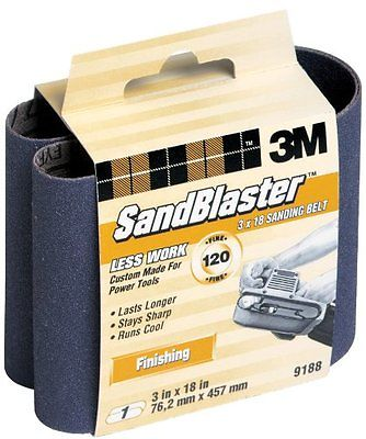 3M SandBlaster 9188NA 3-Inch by 18-Inch 120-Grit Finishing Power Sanding Belt