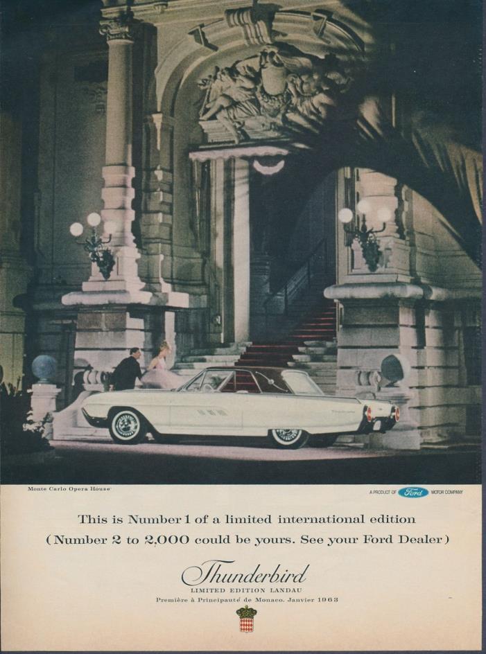 Original Ford Thunderbird Magazine Ad March 1963 International Limited Edition