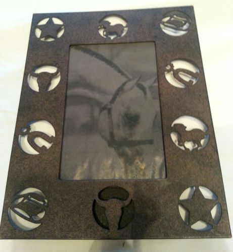 Bronze Metal Picture Frame Western Cowboy Horse Equestrian NEW