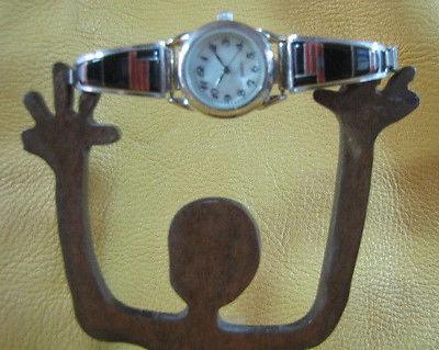 Chester & Sheraldine CS Lonjose Zuni  Watch Tips Jet Coral Inlay Sterling Multi