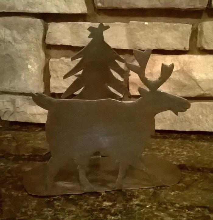 Rustic Moose & Pine Tree Napkin Holder