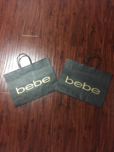 Bebe Black Paper Retail Shopping Bag 15x11x6 Lot Of 2