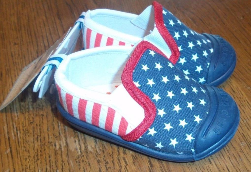 Size 6 NEW Infant Toddler Boy Girl Skidders Shoes Red White Blue Flag 18 Months