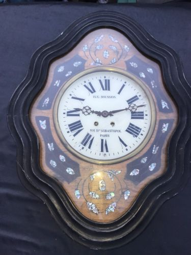 Rare Antique Eugene Boussian French Wall Clock Paris Mother Of Pearl AS IS Old