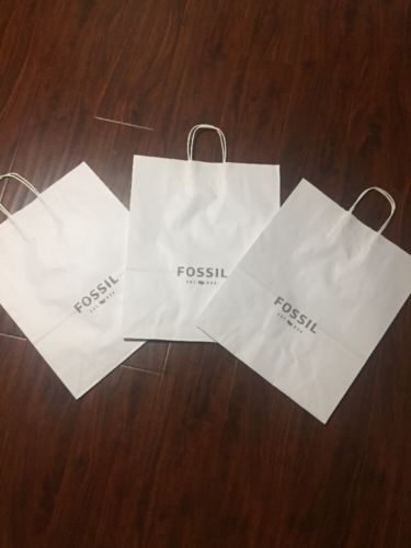 Fossil White Paper Retail Shopping Bag (Lot Of 3)