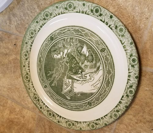Vtg Transferware Green & White 12 3/4