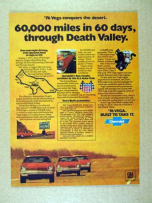 1976 Chevrolet Chevy Vega Death Valley Engine Durability Run vintage print Ad