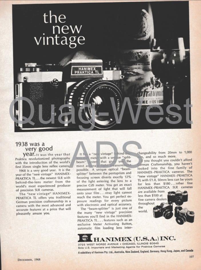Original Magazine Ad - Hanimex Praktica TL Camera/Petri FT Camera - 1968