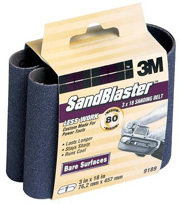3M SandBlaster 9189NA 3-Inch by 18-Inch 80-Grit Bare Surfaces Power Sanding Belt
