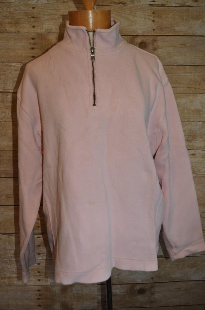 Womens TOMMY BAHAMA Zip Neck Pink Sweatshirt Size Large L 12/14