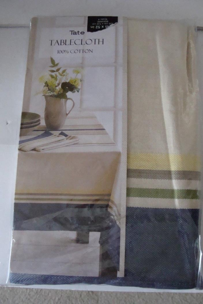 Tate cotton tablecloth blue and multi-color stripes square 52x52 inch