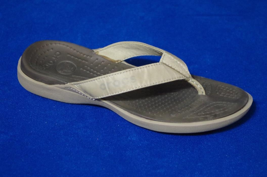 Crocs Khaki Brown Beige Thong Flip Flop Sandals Size Men 8 / Women 10