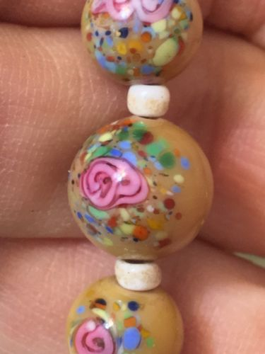 Vintage Antique 1920s Deco Glass Hand Painted Wedding Cake Type Bead Necklace